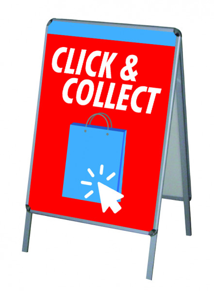 Aktion Corona-Hinweise Click & Collect Vers.1 - PVC-Poster A1 für Kundenstopper